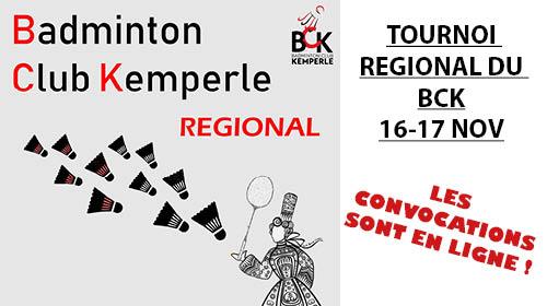 Convocations tournoi Régional du BCK 16-17 novembre 2019