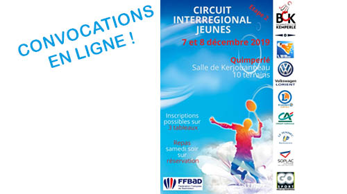 CONVOCATIONS CIJ 2 Zone Ouest à Quimperlé les 7 et 8 décembre 2019