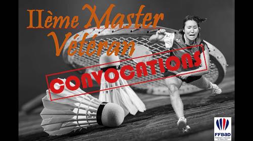 CONVOCATIONS Master Vétéran 25-26 Janvier 2020