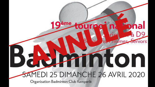 Annulation Tournoi National du BCK 25-26 avril 2020
